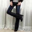 Victoria 黃布邊釘鑽靴型褲-女-中深藍