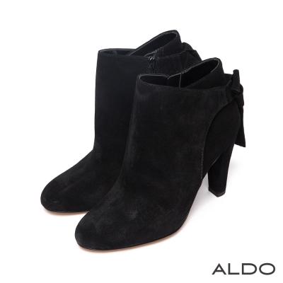 ALDO-原色麂皮蝴蝶領結切口高跟短靴-尊爵黑色