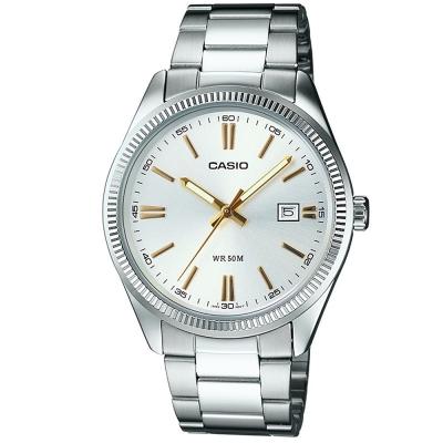 CASIO 經典城市日曆時尚紳士腕錶(MTP-1302D-7A2)- 白面X金時刻/38m