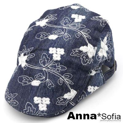 AnnaSofia 繡朵水洗牛仔 鴨舌帽小偷帽(深藍系)