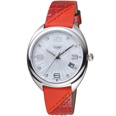 芬迪 FENDI Momento系列放射紋飾腕錶-紅色x白色/35mm