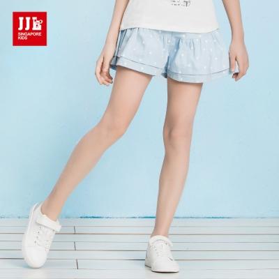 JJLKIDS 活力女孩層次小圓點休閒褲裙(藍色)