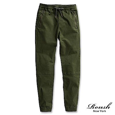 ROUSH 高磅數拉鍊設計美式束口長褲 (2色)