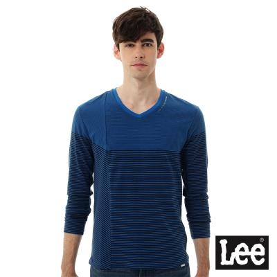 Lee 長袖T恤 條紋V領-男款-藍