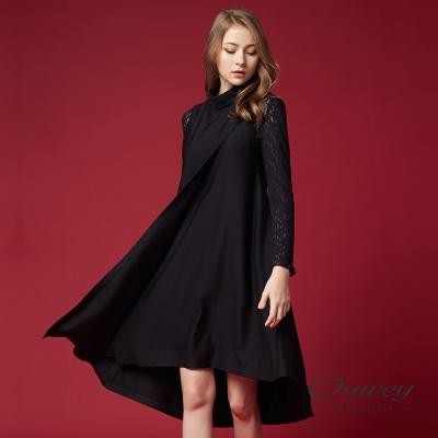 OUWEY歐薇 時尚高領長版背心洋裝(黑)