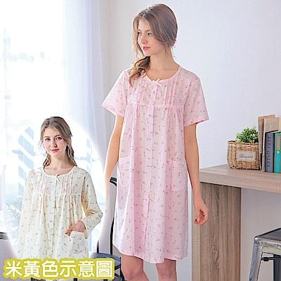 睡衣 精梳棉小碎花平織短袖連身睡衣(R75020-11淺米黃) 蕾妮塔塔