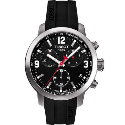 TISSOT PRC 200 競速三眼計時腕錶-黑X橡膠/42mm