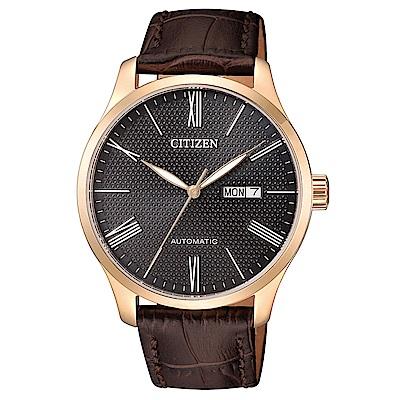 CITIZEN星辰 非凡品味點綴格紋皮帶機械腕錶(NH8353-00H)- 黑/40mm
