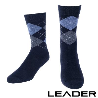 LEADER 除臭去味 紳士菱格中筒襪 藍底藍格- 快速到貨