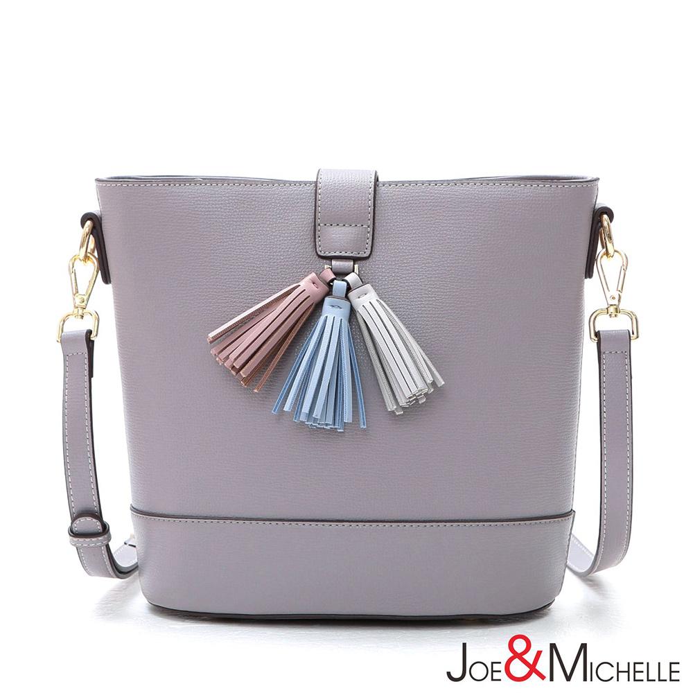 J&M 真皮蘿莉塔流蘇斜背水桶包 芋藕紫