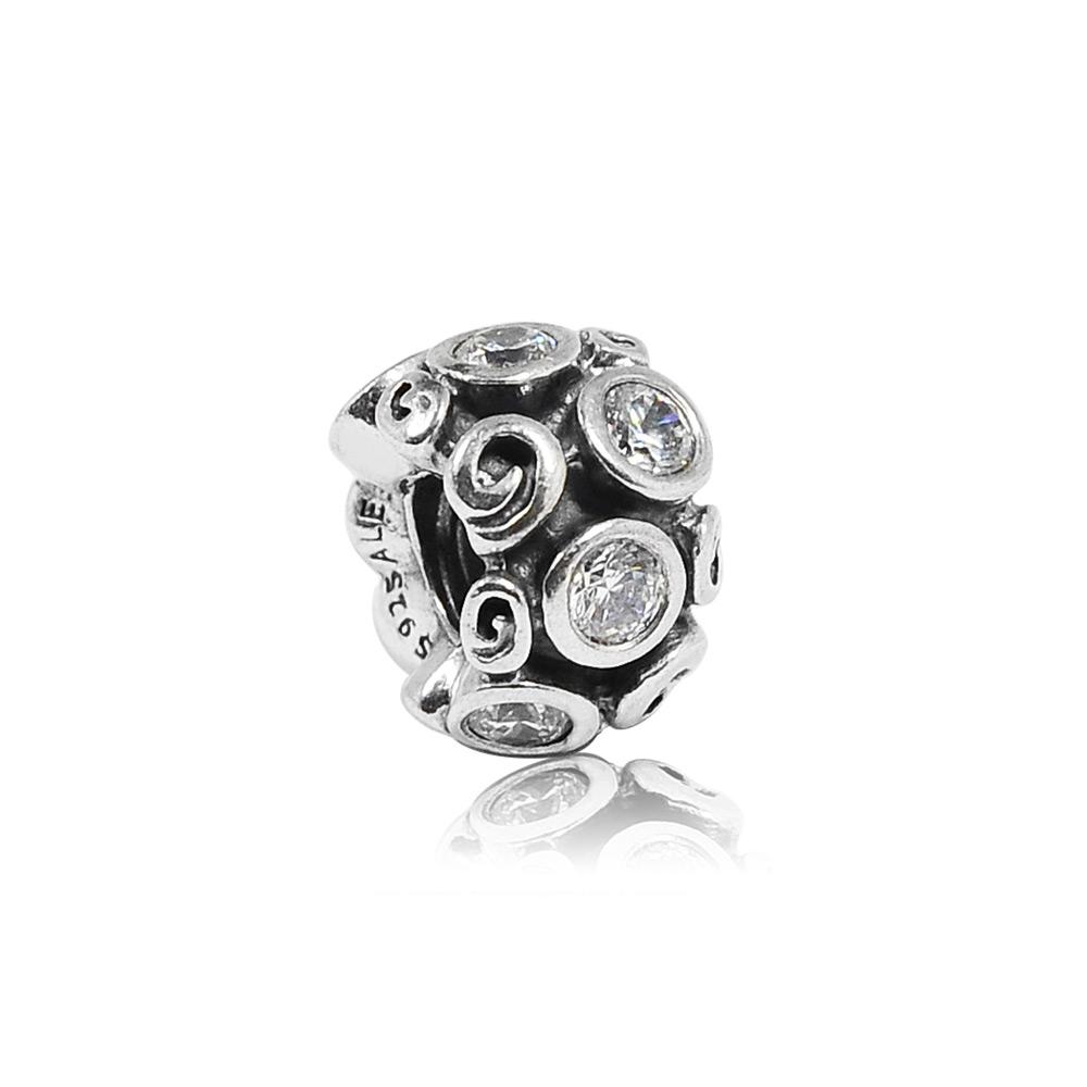 Pandora 潘朵拉 漩渦鑲鋯造型 純銀墜飾 串珠