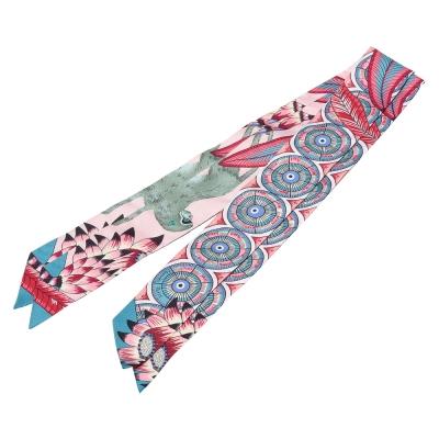 HERMES Savana Dance繽紛造型Twilly絲巾/領結-珍珠粉X綠一組
