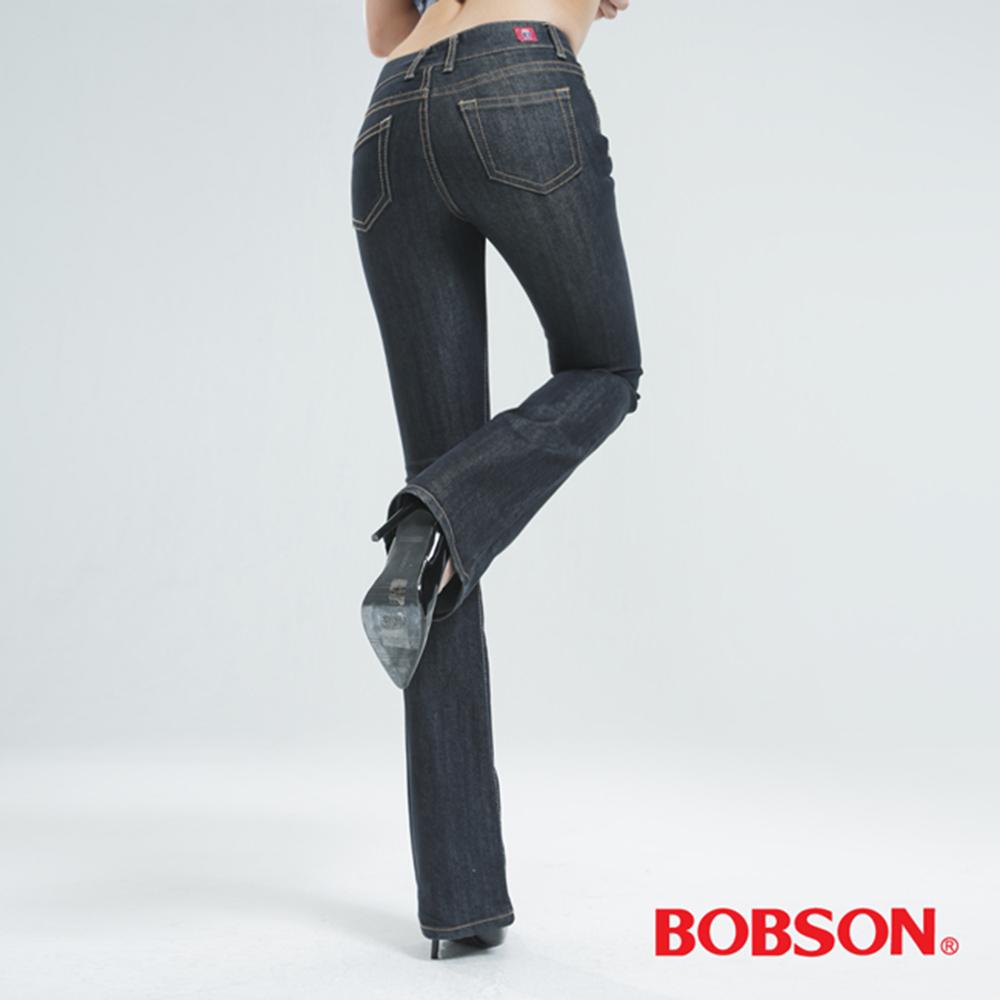 BOBSON 女款低腰伸縮小喇叭褲-鐵灰