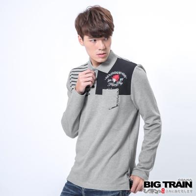 BIG-TRAIN-配條赤青POLO衫-男-麻灰