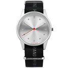 HyperGrand 首創印花設計 極簡面板 尼龍手錶-銀x黑/38mm