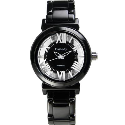 Canody 浮雕時尚 雙鏤空羅馬陶瓷腕錶-黑x白色/35mm