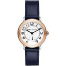 Marc Jacobs Riley 城市小秒針手錶-玫塊金框x藍色/36mm