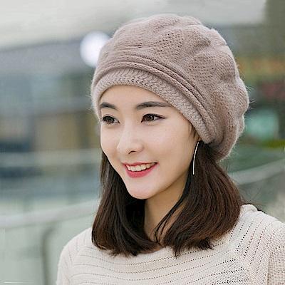 幸福揚邑 棱紋小顏毛線帽雙層保暖護耳防風兔毛針織貝蕾帽-卡其