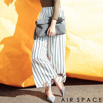 AIR-SPACE-清新直條高腰雪紡寬褲-白