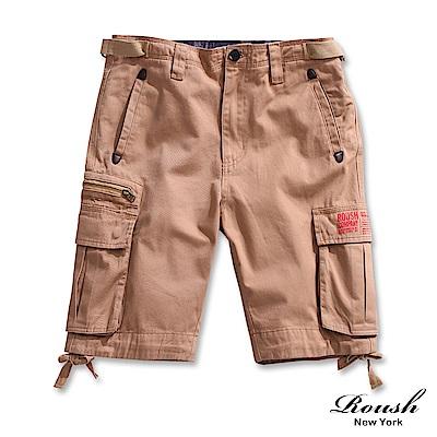 Roush- 鐵釦拉鍊雙口袋高磅數水洗短褲