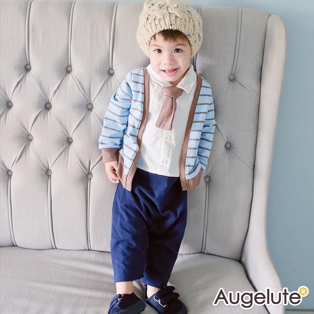 baby童衣 連身衣 假兩件條紋背心領結爬服47151