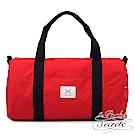 La Poche Secrete 率性自在休閒帆布圓筒手提側斜背旅行袋-魅力紅