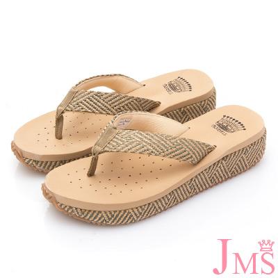 JMS-舒適配色麻繩編織夾腳海灘拖-綠色