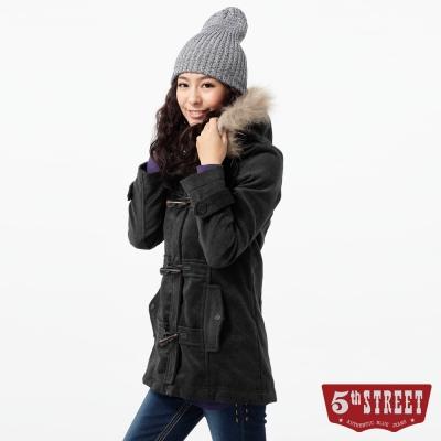 5th-STREET氣質出眾牛角釦修身綿羊呢外套-女款-灰色