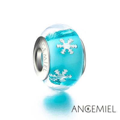 Angemiel安婕米 義大利純銀 琉璃串珠 冰藍雪花
