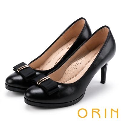 ORIN 優雅甜美系 羊皮織帶蝴蝶結金屬飾釦高跟鞋-黑色