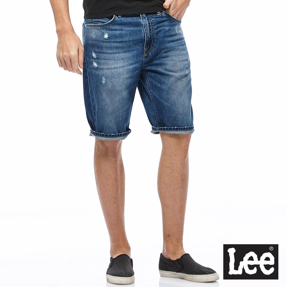 Lee 貓鬚牛仔短褲-男款-藍