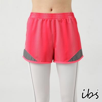 ibs幾何圖騰科技轉印滾邊吸排短褲-女-玫紅