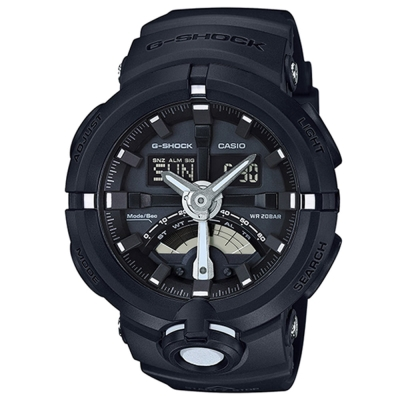 G-SHOCK前衛時尚渾圓大錶殼設計城市運動概念錶(GA-500-1A)-銀針X黑48.9mm