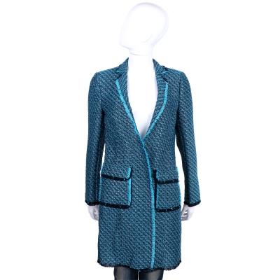 TRUSSARDI 藍色金蔥不修邊毛呢長版外套