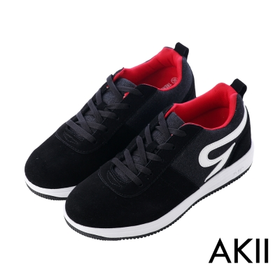 AKII韓國空運‧時尚牛仔拼布男款內增高休閒鞋-黑