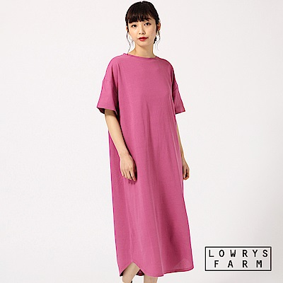 LOWRYS FARM素色圓領落肩極長版短袖T恤洋裝-三色