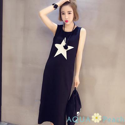 星星圖案長版背心裙洋裝 (黑色)-AQUA Peach