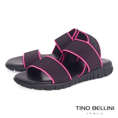 Tino Bellini 義大利進口炫彩螢光繃帶休閒平底涼鞋_螢光粉