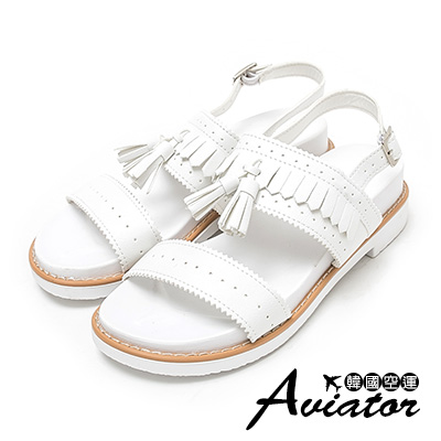 Aviator*韓國空運。正韓製復古雕花流蘇厚底涼鞋-白