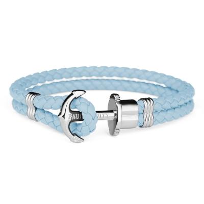 PAUL HEWITT 德國出品 PHREP 尼加拉藍皮革繩編織 銀色船錨手環