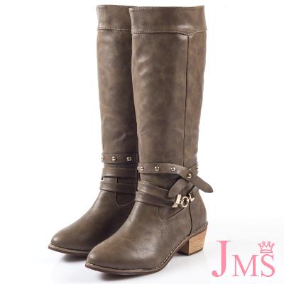 JMS-時尚金屬交叉鉚釘扣環馬蹄跟長靴-咖啡色