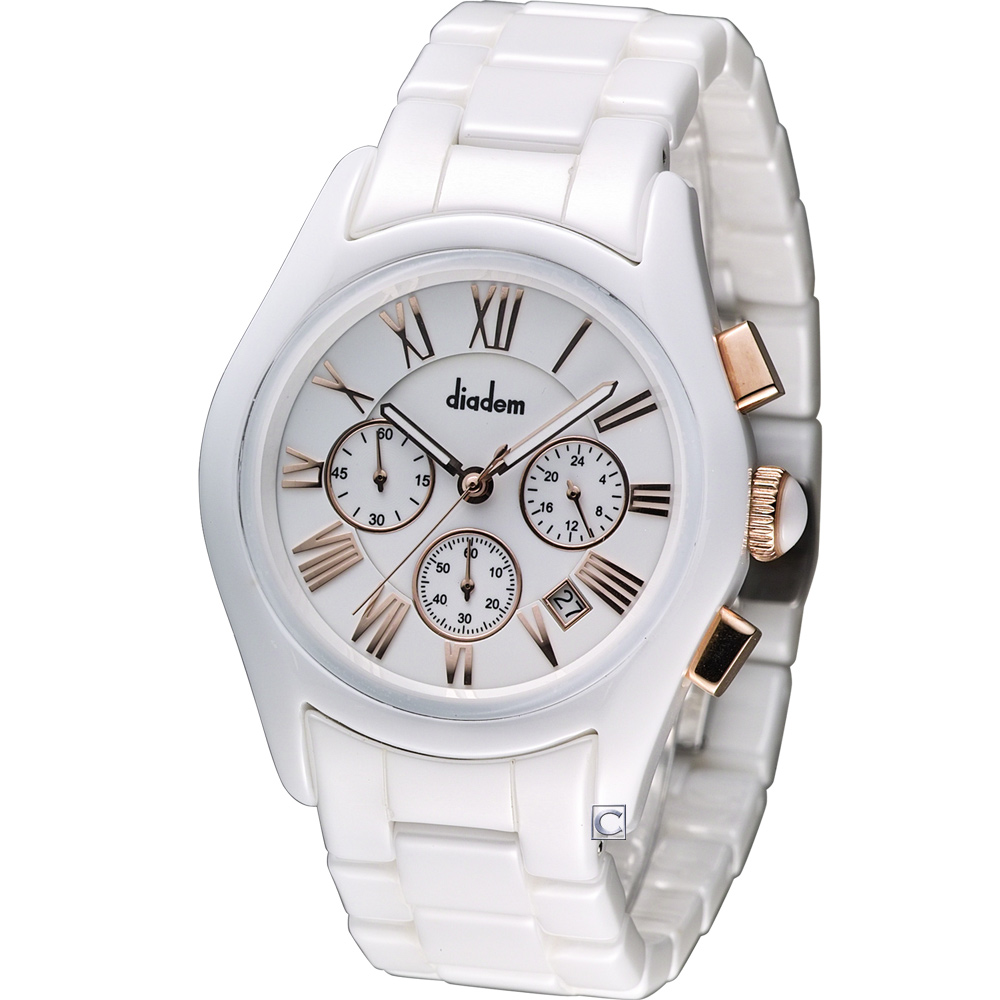 Diadem 黛亞登 時尚紳士陶瓷計時腕錶-白/金標/44mm