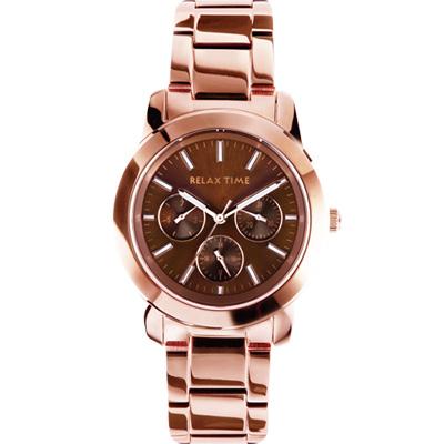Relax Time 時尚達人日曆顯示腕錶-咖啡x玫塊金/38mm R0800-16-35