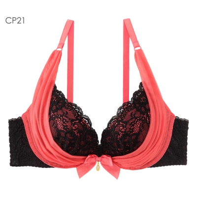 aimerfeel 奢華薄紗內衣-鮮粉紅色