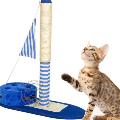 DYY~海軍風條紋小旗帆船 磨爪逗貓兩用貓跳台爬架~66~27~22.5cm