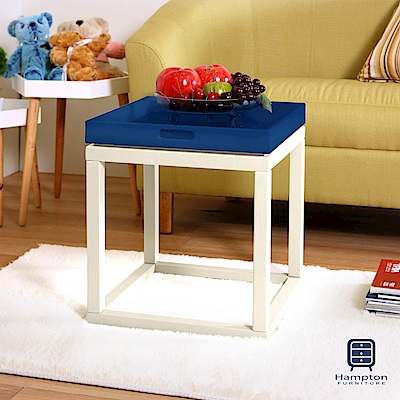 漢妮Hampton安琪拉多功能小托盤茶几組(白+深藍)/凳子/書架/桌子/置物架