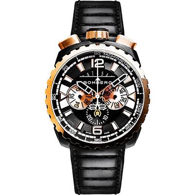 BOMBERG 炸彈錶 BOLT-68 率性霸氣計時手錶-黑/45mm