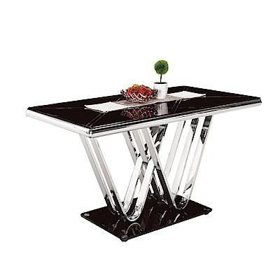 品家居 瑞伊歐4.6尺玻璃造型餐桌-139x80x76cm免組