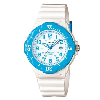 CASIO潛水風運動休閒女錶LRW-200H-2B-白x藍框34mm