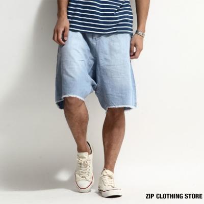 藍染寬版短褲 ZIP日本男裝